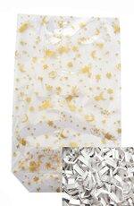 Zellglas - Bodenbeutel / Tüte mit Weihnachtsmotiv + Verschluss - Clips (Transparent mit Aufdruck / Weiss - 14 x 23 cm) KOMPLETT - SET