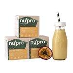 nupro Veganes Bio Protein Pulver -Maracuja- Ganzheitlicher Eiweiß Shake aus Pflanzlichen Proteinen zur Versorgung von Muskulatur & Darmflora [Ohne Soja, Aromen oder Süßstoff|3x200g]