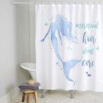 "Home Dynamix Nicole Miller Mermaid Hair Don't Care 100% Cotton Duschvorhang, blau/weiß, 72""x72"""