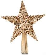 HEITMANN DECO Stroh-Baumspitze 25 cm Natur - Christbaumspitze Stern aus Stroh - Christbaumschmuck aus natürlichem Material