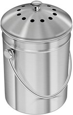 Utopia Kitchen [5 Liter] Kompostbehälter - Kompostbehälter aus Edelstahl für Küchenarbeitsplatten - Kompostbehälter Kücheneimer Kompost mit Deckel - inklusive 1 Ersatzkohlefilter