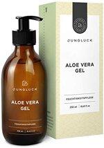 Junglück Aloe Vera Gel aus 95% Bio Aloe Vera | 250 ml in Braunglas | Feuchtigkeitspflege für gesunde & schöne Haut | Vegane Naturkosmetik Made in Germany