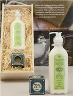 Gift Box from Birchwood Filled with Natural Cosmetics: Olivia Body Milk and Savon de Marseille - Purely Vegetal