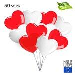 Twist4 50/100 Herzluftballons ca. Ø 26cm Hochzeit Liebe Valentinstag Deko Mädchen - Top Qualität (50 Stück, Rot/Weiß)