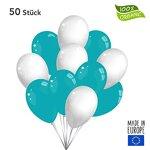 Twist4 50 Premium Luftballons in Weiß / Türkis - Made in EU - 100% Naturlatex somit 100% giftfrei und 100% biologisch abbaubar - Geburtstag Party Hochzeit Silvester Karneval - für Helium geeignet