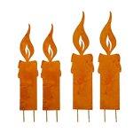Kerzenflamme 4er Set aus Edelrost groß