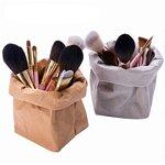 Lnlyin Kraftpapier Cosmetics Organizer Wiederverwendbare waschbare Multifunktions-Kraftpapiertüte,Nordische Esche