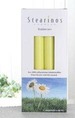 Bio-Kerzen / Stearin-Leuchterkerzen, 4er-Pack, lindgrün