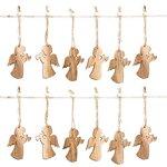 12 Stück kleine Holz-ENGEL Weihnachts-ANHÄNGER natürlich natur braun 7,5 cm Trompete mit Schnur als Christbaumschmuck Christbaumanhänger Geschenkanhänger - Weihnachtsdeko zum Aufhängen