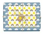 4x dabelino Regenbogen-Geschenkpapier-Set für Kinder inkl. Stern-Geschenkanhänger aus Recycling-Papier (Kindergeburtstag, Geburt, Baby, Mädchen, Jungen)