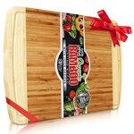 Perfect Placed® Extra Großes Bio Bambus Schneidebrett | Neue Anti- Riss-Technologie & Lebenslange Ersatz-Garantie – Premium Holz Schneidebretter für die Küche – mit Saftrille für Fleisch (30x45cm)