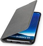 WIIUKA Echt Ledertasche -TRAVEL Nature- für Samsung Galaxy S9 -DEUTSCHES Leder- Vintage Grau, mit Kartenfach, extra Dünn, Tasche, Leder Hülle kompatibel mit Samsung Galaxy S9