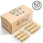 greenli 50 x Wäscheklammern aus Bambus- 6 cm - Die nachhaltige Alternative zu Holzklammern