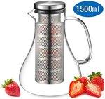 ecooe Glaskaraffe Fruit Infuser Glaskrug aus Borosilikatglas Wasserkrug mit Edelstahl Deckel und Sieb 1500ml Karaffe Glaskanne
