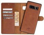 Solo Pelle Lederhülle Harvard kompatibel für das Samsung Galaxy Note 8 inklusive abnehmbare Hülle mit integrierten Kartenfächern (Cognac Braun)