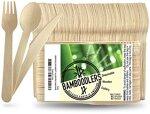 BAMBOODLERS Einwegbesteck aus Holz | 100 % natürlich, umweltfreundlich, biologisch abbaubar und kompostierbar – Packung mit 200 Utensilien (100 Gabeln, 50 Löffel, 50 Messer), ca. 16,5 cm lang