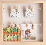 Gadgy ® 3D Bilderrahmen | MDF Rahmen mit 18 Wäscheklammern | 25x25x4 cm Box Design | Objektrahmen zum Befüllen