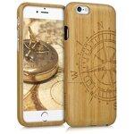 kwmobile Hülle kompatibel mit Apple iPhone 6 / 6S - Handy Bambus Schutzhülle - Cover Case Handyhülle Kompass Hellbraun