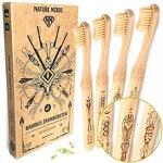 Nature Nerds - Bambus-Zahnbürsten im Set (4er Pack) / Härtegrad: Mittel/aus nachhaltig angebautem Bambus/Vegan/BPA-frei