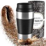 Thermobecher Kaffee To-Go Becher - Auslaufsicher, Spülmaschinenfest & BPA-frei   360ml Kaffeebecher, heiß + kalt Vakuum Isoliert   Tee/Coffee Edelstahl Travel Mug, Thermo-/Isolierbecher Trinkbecher