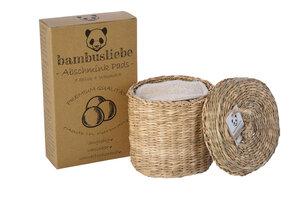 bambusliebe - 7 Waschbare Abschminkpads aus Bambusviskose inkl. Waschsack - Made in Germany - mit Seegraskorb