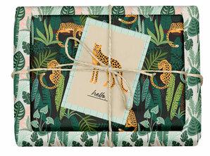 dabelino - Veganes Geschenkpapier Set Leopard/tropisch: 4x Bögen + 1x Grußkarte (V-Label zertifiziert, Blauer Engel, Recyclingpapier)