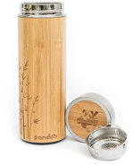 pandoo - pandoo Bambus Thermobecher - doppelwandige Thermoflasche mit Teesieb