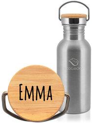 Edelstahl Trinkflasche 500ml mit individueller Gravur - ecoGecko