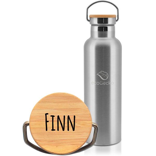 ecoGecko® - Thermos Edelstahl Trinkflasche 750ml mit individueller Gravur