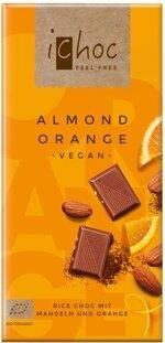 Orangen-Schokolade mit Mandeln von iChoc - veganer Bio-Genuss